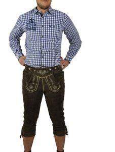 JCC - Herren Trachten Lederhose mit Stegtrmäger aus Ziegenleder (Art. Franz) , Größe:48, Farbe:Braun