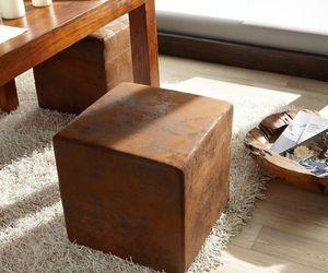 Sitzhocker Dado Braun 45x45 cm Vintage Optik Hocker Sitzwürfel