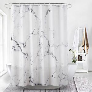 Duschvorhang, Stoff, bedruckt, 180 x 200 cm, mit 12 Haken, Marmor