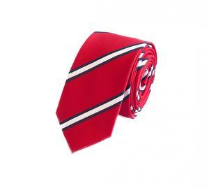 Schlips Krawatte Krawatten Binder 6cm rot weiß blau gestreift Fabio Farini