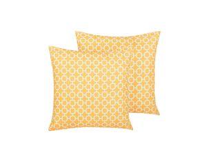 Gartenkissen im 2er Set Gelb Polyester geometrisches Motiv Quadtratisch 40 x 40 cm Garten Terrasse Balkon Wohnzimmer