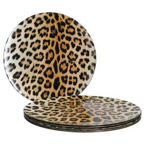 6x Platzteller Leopard Lampart Tisch-Unterlage Deko-Accessoire Platz-Set