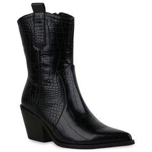 Mytrendshoe Damen Stiefeletten Leicht Gefüttert Cowboy Boots Prints Stiefel 835419, Farbe: Schwarz, Größe: 38