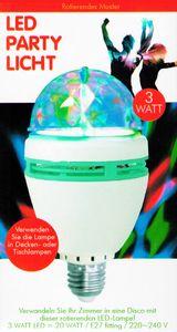 LED PARTY LICHT RGB 3W 360° Rotation E27 Glühlampe Glühbirne Disco Lichteffekt 2