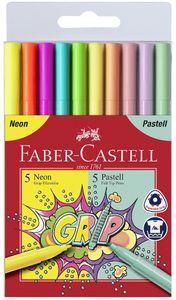 FABER-CASTELL Fasermaler GRIP Neon + Pastell 10er Etui
