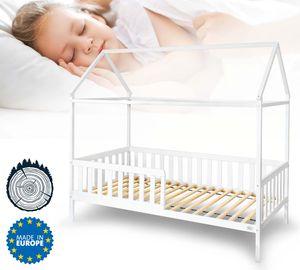 Alcube Hausbett 200x90 cm mit Rausfallschutz und Lattenrost, Kinderbett 90x200 cm für Mädchen und Jungen Kinderbetten aus massivem Kiefernholz