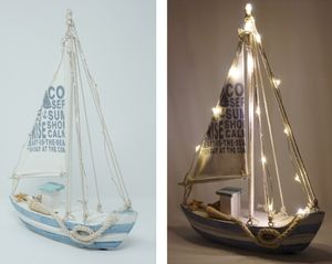 Standmodell Segelschiff Segelboot 28x21 cm mit Beleuchtung 13 LED Kutter Boot