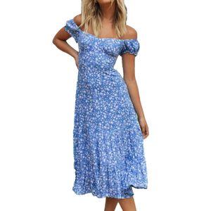 Schulterfrei Print Schnürung Schlankes Sommer Midikleid Sommerkleid für Strand Blau M