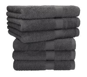 Betz 6 Stück Handtücher PALERMO 100% Baumwolle Handtuch-Set   Farbe - anthrazit