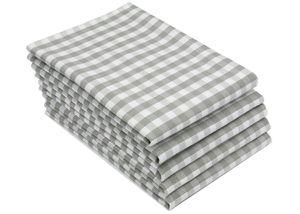 5er Set Geschirrtücher, Baumwolle, 50x70 cm, Karos grau