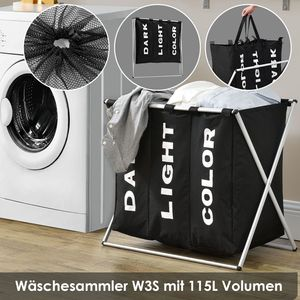 Juskys Wäschesammler W3S mit 3 Fächern & Aluminium Gestell | 115 L Fassungsvermögen | Wäschesortierer stabil & faltbar für Schmutzwäsche | schwarz