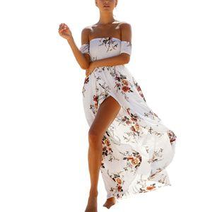 Frauen Sommerurlaub gewickelte Brust Langrock Kurzarm Kleid,Farbe: Weiß,Größe:S