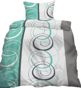 Seersucker Bettwäsche 135x200 +80x80 cm, grün grau weiß Kringel, bügelfrei, Microfaser