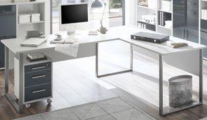 Eckschreibtisch OFFICE LUX Winkelschreibtisch Schreibtisch Rollcontainer Grau