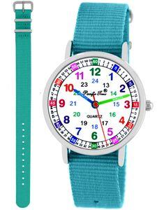 Kinder Armbanduhr Mädchen Jungen Lernuhr Kinderuhr 2 Armbänder hellblau türkis