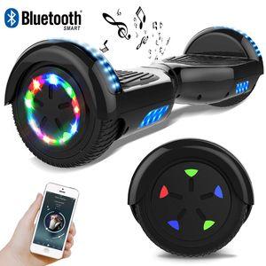 COLORWAY Schwarz Hoverboard Flash-Rad Balance Elektro Scooter Roller EU Sicherheitsstandard, mit Bluetooth Lautsprecher und LED-Lichter
