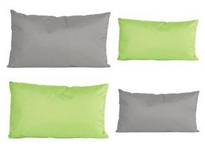 4x Outdoor Lounge Kissen Set viele Farben Dekokissen Wasserfest Sitzkissen Garten Stuhl 30x50cm + 40x60cm, Farbe:2x Grau - 2x Grün