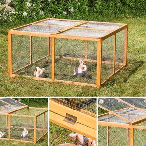 Holz Freilauf Freigehege Hasenstall Kaninchenstall Hasenkäfig Kleintierstall M01