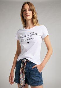 MUSTANG Damen T-Shirt Print-Shirt Slim Fit Farbe: weiß Größe: M