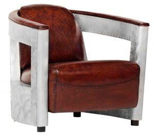 Casa Padrino Echt Leder Art Deco Sessel Chrom / Braun - Club Sessel - Lounge Sessel -  Vintage Leder