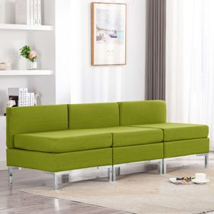 Modular-Mittelsofas 3 Stk. mit Auflagen Stoff Grün Wohnlandschaft-Sofa Relaxsofa für Wohnzimmer Schlafzimmer Esszimmer