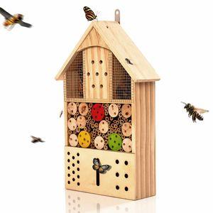 blumfeldt Insektenhotel mit Farbklecksen Nistkasten Nützlingshotel Insektenhotel Bienenhotel , aus Pinienholz , verschiedene Kammern , inkl. Bambusröhrchen, Holzstückchen, Kiefernzapfen , ganzjährig bewohnbar