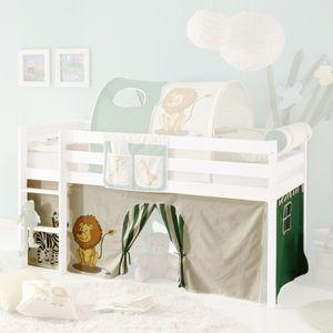 Vorhang Safari 3-teilig 100% Baumwolle Stoffvorhang Bettvorhang inkl Klettband für Hochbett Spielbett Etagenbett Stockbett Kinder- und Jugendbett