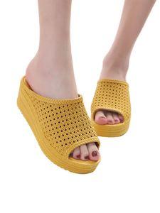 (Gelb,37)Damen Hollow Slippers Wedge Wasserdichte High Heels Open Toe Casual Sandalen