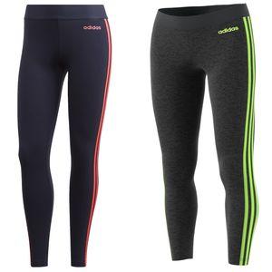 adidas Leggings ESS 3 Streifen Tight Sport Damen, Farbe:Grau, Damen Größen:S