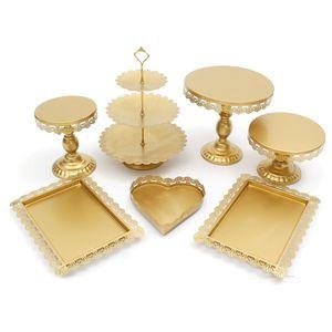 7 Stück / Set Kristall Metall Kuchen Cupcake Halter Stand Display für Geburtstag Hochzeitsfeier