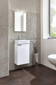 HOMEXPERTS Gästebad-Set GIZO in Hochglanz weiß, inklusive Spiegel, LED-Beleuchtung, Waschbecken, Unterschrank mit Soft-Close Beschlag