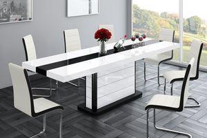 Design Esstisch Tisch HE-555 Weiß - Schwarz Hochglanz ausziehbar 160 bis 260 cm