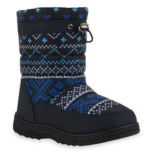 Mytrendshoe Kinder Warm Gefütterte Winter Boots Bequeme Stiefel Prints Schuhe 836082, Farbe: Dunkelblau Hellblau Weiß Muster, Größe: 35