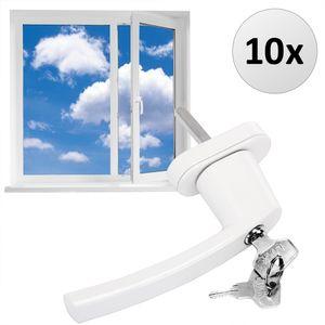 Fenstergriff abschließbar Sicherheitsfenstergriff weiß silber Kindersicherung, Farbe:10x weiß
