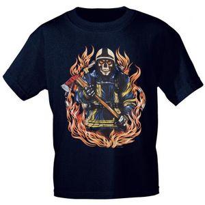 T-Shirt mit Print - Feuerwehr Flammen Totenkopf - 09361-1 dunkelblau - Gr. S-XXL Größe - S