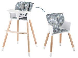 Lionelo Koen 2in1 Baby Hochstuhl mit Holzbeinen Kinderhochstuhl Babystuhl in grau-gelb
