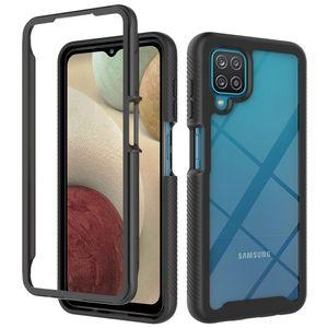 Galaxy A12 Hülle, LaimTop Doppelschichtig Transparente Rückseite TPU Bumper Schutzhülle für Samsung Galaxy A12 Schwarz