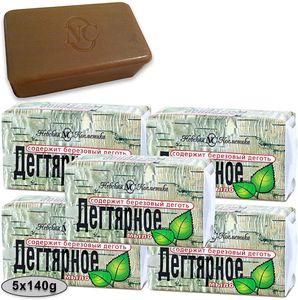 5 Stück (5 x 140g) Teer Seife (Birkenteer) gegen Dermatitis  Akne Teerseife Birkenseife aus Russland