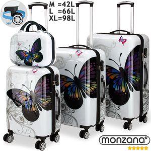 Hartschalenkofferset Butterfly Beauty Reisekoffer Set Komplettset Trolley Koffer Kosmetiktasche -ABS mit PC-Beschichtung -gummierte Zwilllingsrolle -Alu-Teleskopgriff -Schloss -inkl. Beautycase