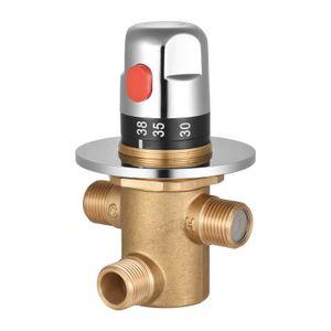 Thermostatisches Temperaturregelventil Heiss-Kaltwasser-Duschmischer G1/2 Messing-Mischventil Dreiwege-Duschumstellventil fuer Solarheizung Wasserleitung Badewanne Kueche Heizkörperthermostate
