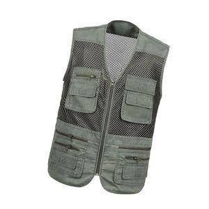 Armeegrün Anglerweste Unisex Jägerweste Weste Multi-Taschen Jacke für Sport Angeln 4XL