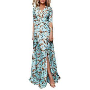 Maxikleid Printed V-Ausschnitt Damen 3/4 Ärmel Taille Gebunden Split Formales Kleid Blau XL