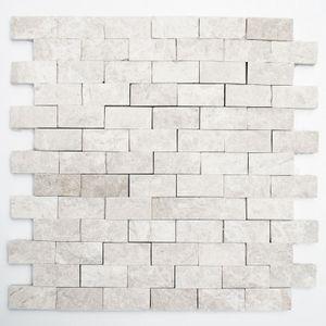 Mosaik Fliese Marmor Naturstein elfenbein Brick Splitface Botticino Marble 3D MOS45-1202
