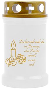 Grabkerze Weiß ( Druck Gold ), Brenndauer: 40 Stunden, Motiv: Kerze