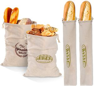 4 Stück Leinen-Brotbeutel,Brotbeutel, um Brot frisch zu halten, atmungsaktiv, Lebensmittel-Aufbewahrungstasche mit Kordelzug für Brot, natürlicher ungebleichter Brotbeutel für hausgemachte Handwerker
