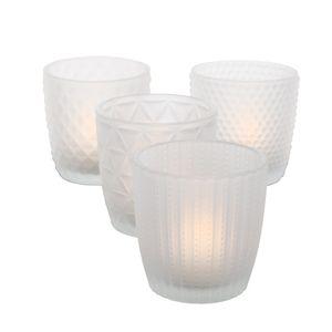 Teelichthalter 4x Teelichtgläser Deko Windlicht Marilu Matt 4x Glas Frost