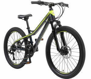 BIKESTAR Kinder Jugend Mountainbike 24 Zoll ab 9 Jahre   Hartail MTB Scheibenbremse Federgabel   Schwarz Grün