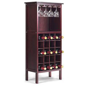 COSTWAY Weinregal mit Weinglashalter Glaeserregal Flaschenregal Weinstaender Holzregal Weinschrank Flaschenstaender Standregal Holz Kolonialstil