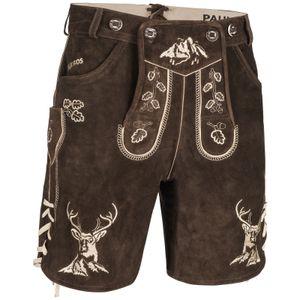 PAULGOS Herren Trachten Lederhose kurz - HK4 - Echtes Leder - in 2 Farben erhältlich - Größe 44 - 60, Farbe:Dunkelbraun, Größe:52