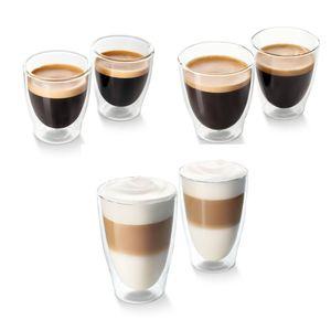 Tchibo Cafissimo 6er Glastassen Set – 2 Latte-Macchiato-Gläser, 2 Espressotassen, 2 Kaffeetassen, doppelwandig
